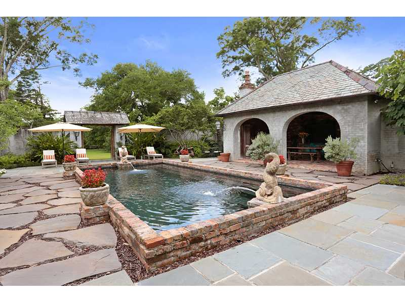 A. Hays Town, courtyard, fountain, pool, cabana