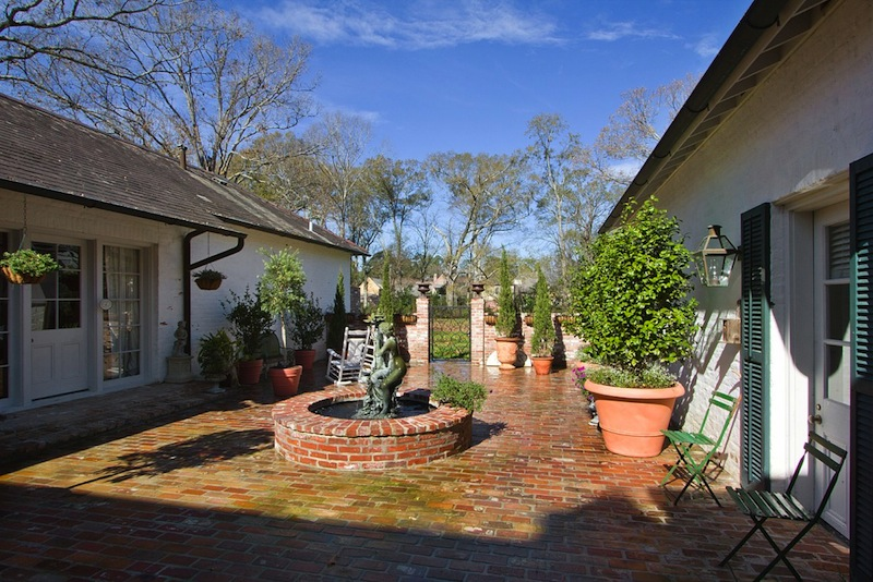 Brick fountain courtyard, A. Hays Town