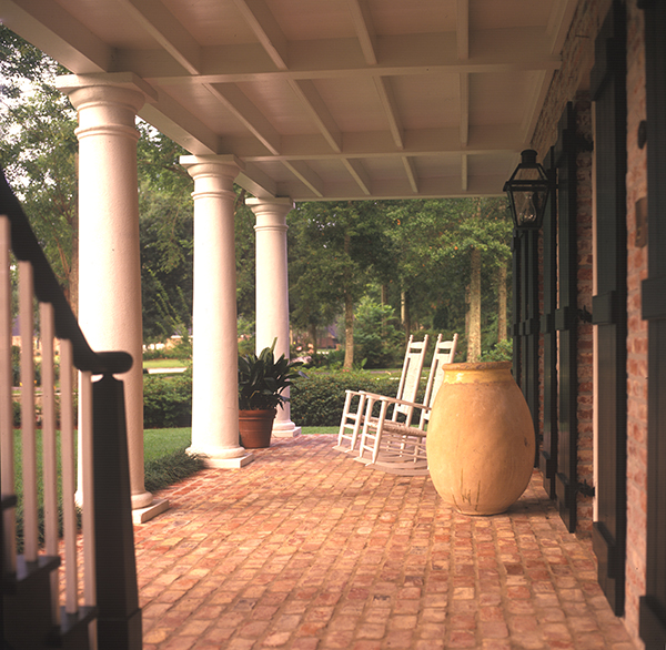 A. Hays Town, gallery porch, French doors, shutters