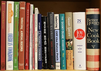 Louisiana Cookbooks on Kitchen Shelf