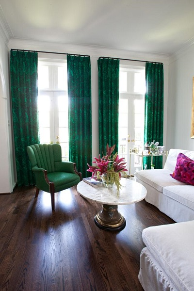 Green Drapery Panels, Chair