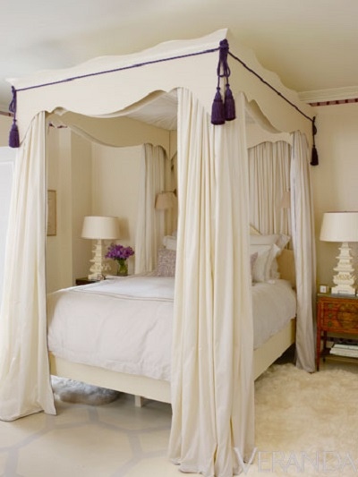 Bedroom, Cream, White, Purple
