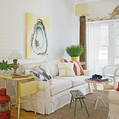 Oyster Shell; Art; Coastal; Cottage; Living Room; Bellamy Murphy; Jane Coslick; Coastal Living Magazine