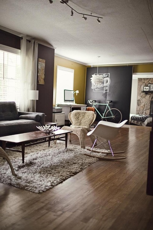 Bike in Mid-century style room