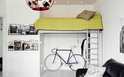 Bike stored under bed