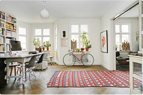 Library with bike and colorful rug