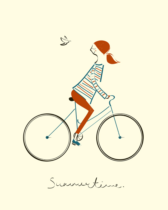 Summertime; screen print; illustration; Blanca Gomez