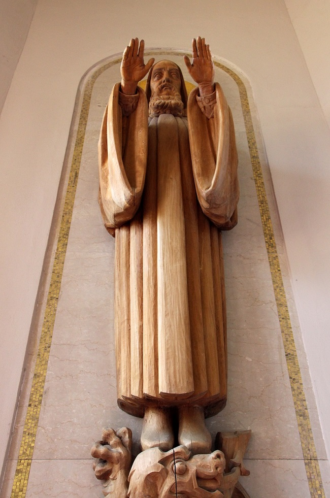 Hand-carved wooden statue of Saint Benedict in St Joseph Abbey Church
