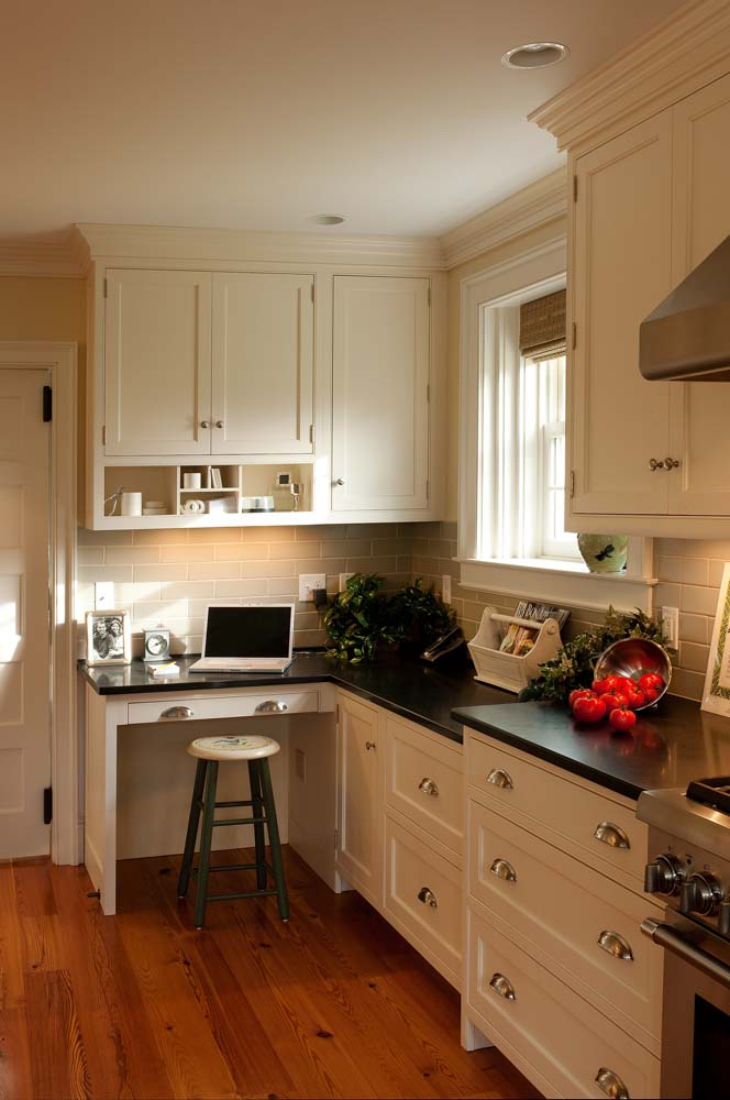 Cabinetry style for Scrapbook room, painted cabinets with inset doors and soapstone countertops