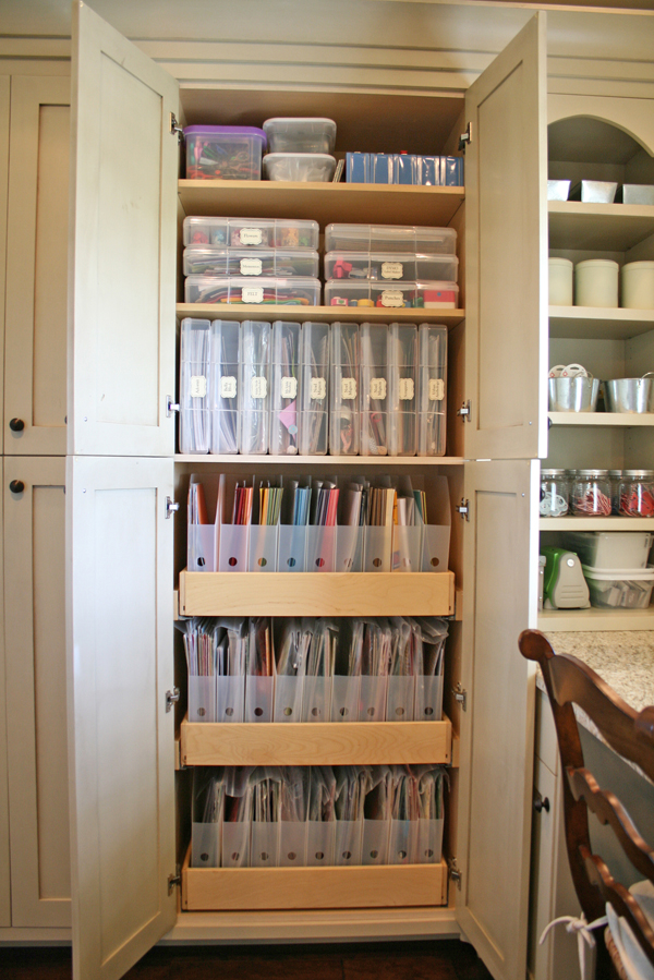 Scrapbook room with built in craft storage for Craft supplies organization ideas