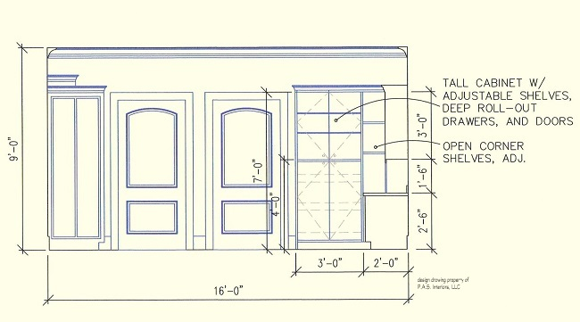 Scrapbook Craft Room, elevation of built-in cabinetry storage