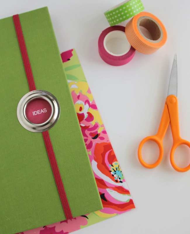 Scrapbook and Crafting Supplies with a Journal Notebook for Ideas