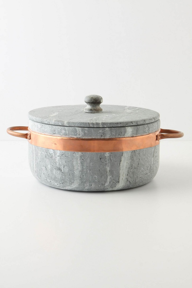 Soapstone Stock Pot with Copper Handles as Scrapbook and Craft Supplies Storage Container