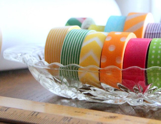 Washi Tapes and other Scrapbook and Craft Supplies stored in a Vintage Cut Glass Relish Dish