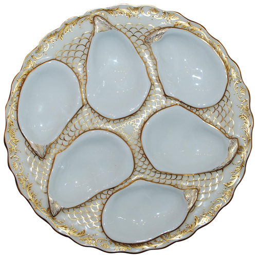 Antique English Minton Oyster Plate made for Davis Collamore, NY, at Moss Antiques in NOLA