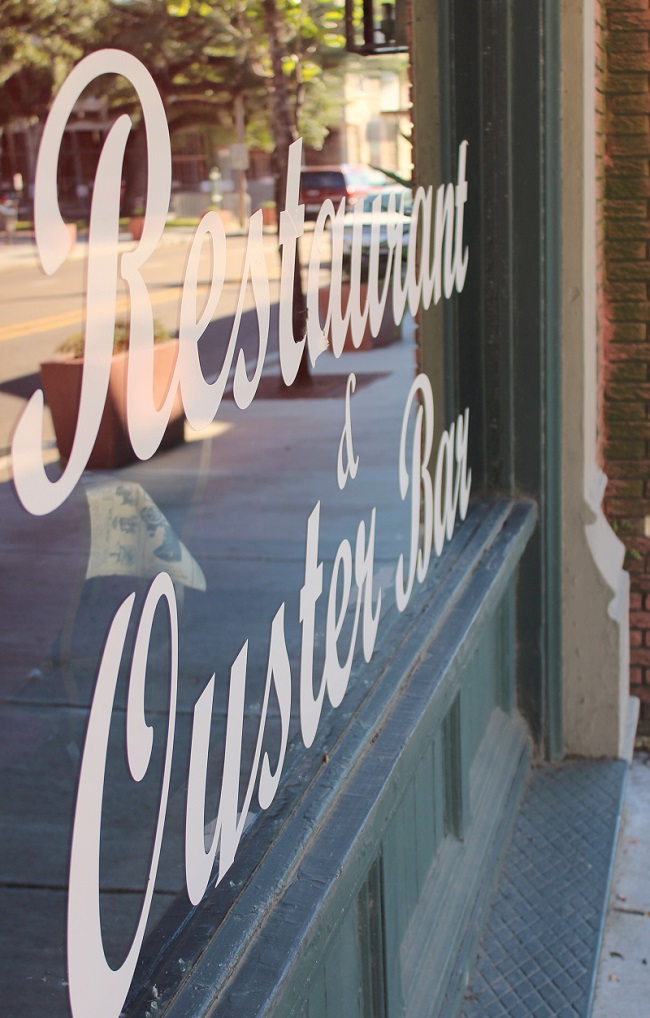 Window of Restaurant and Oyster Bar in Covington, Louisiana