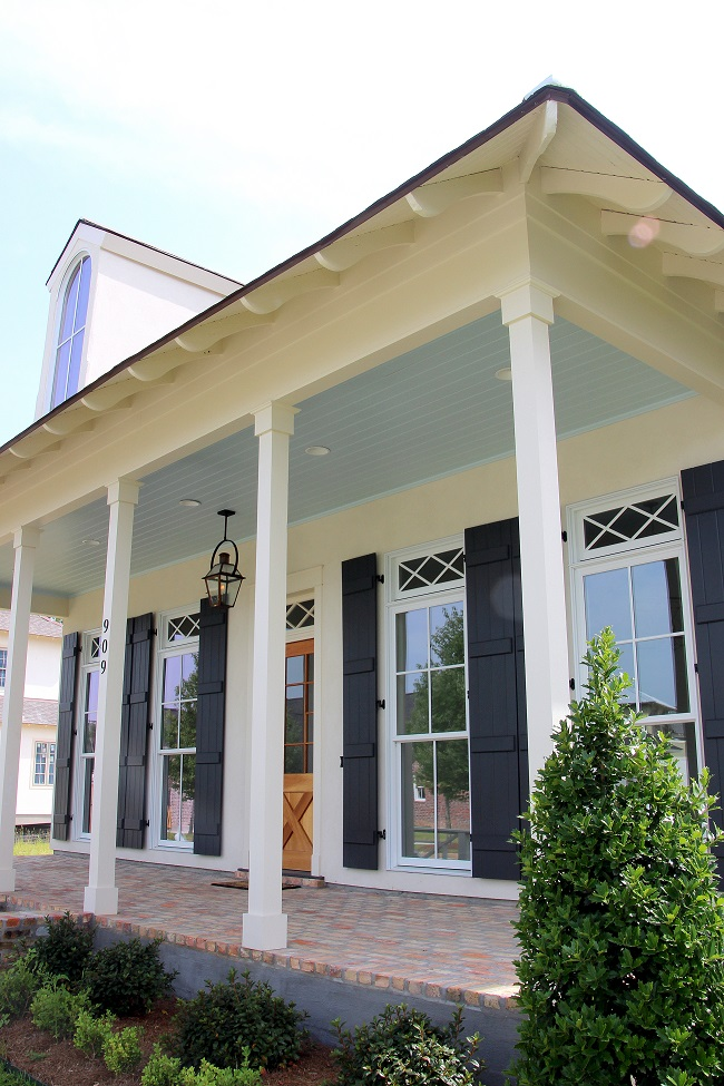 Southern style haint blue porch ceilings on the new for Blue house builders