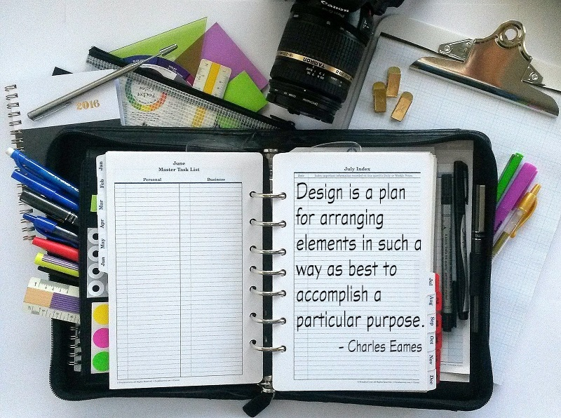 Personal Planner Setup - Franklin Planner with quote by Charles Eames