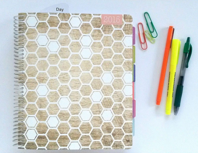 Personal Planner - Plum Paper Planner with Honeycomb and Wood Cover Design