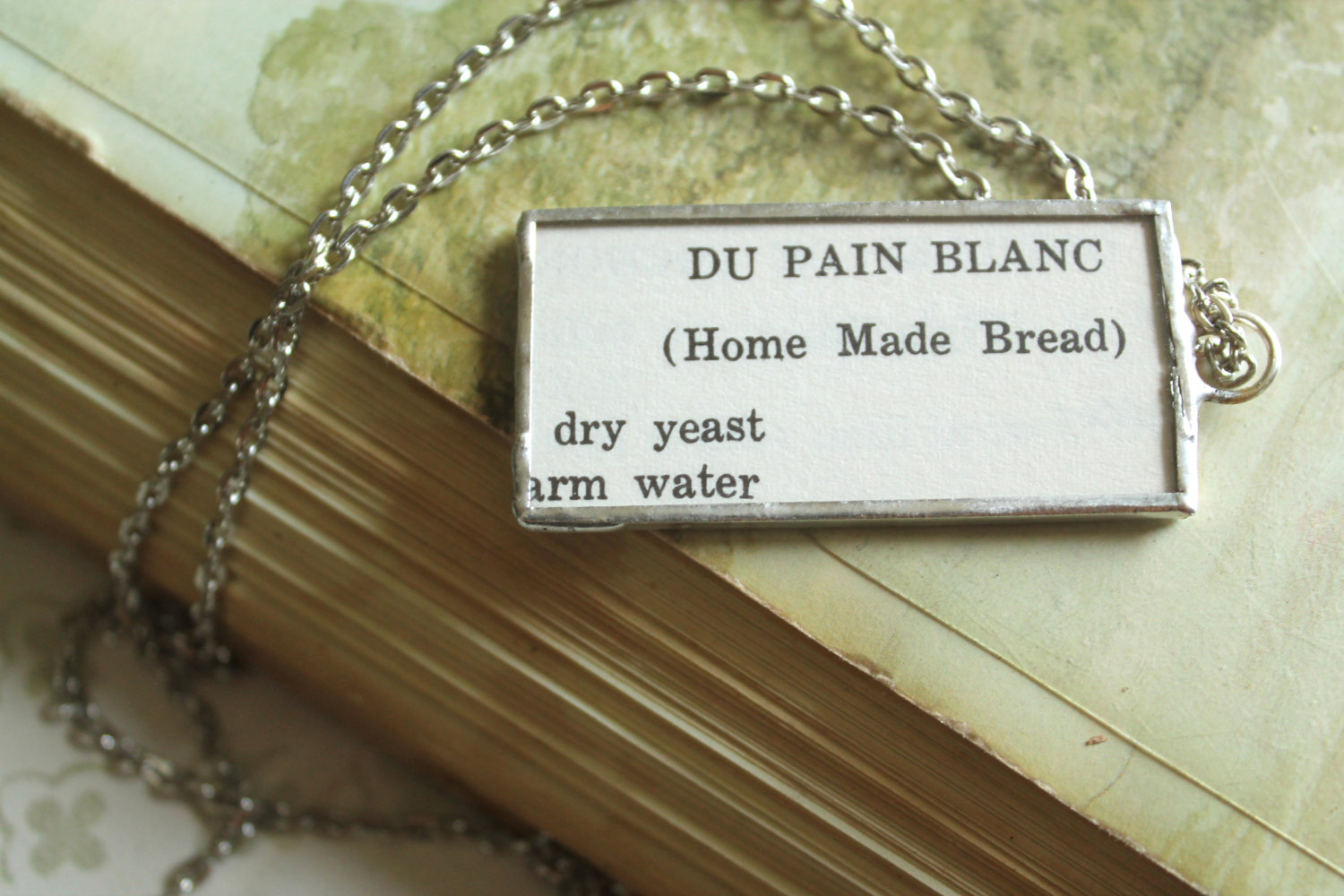 Necklace with an old Louisiana recipe for Home Made Bread, via Etsy - easier than a King Cake recipe