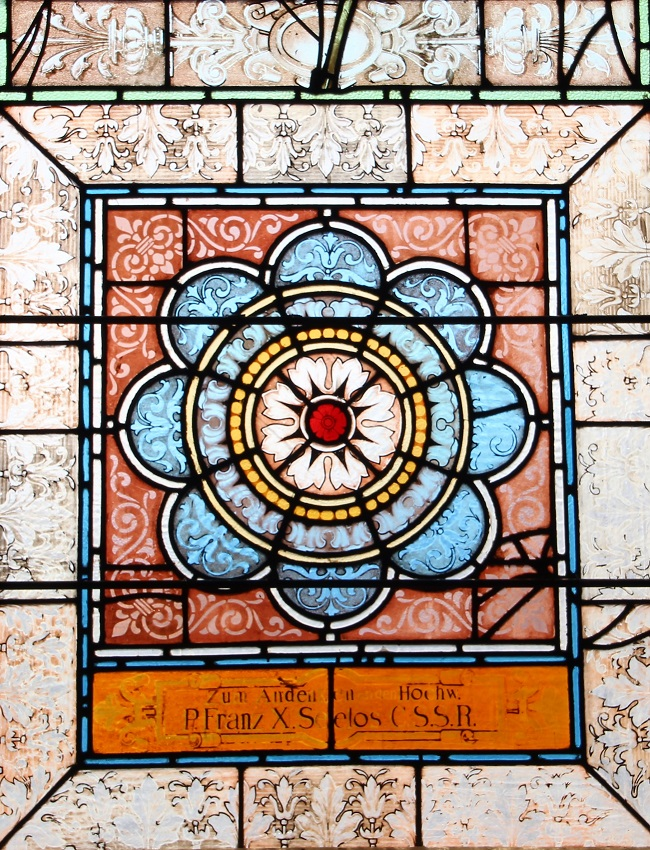It is well with my Soul - Stained Glass, National Shrine of Blessed Francis Xavier Seelos at St. Mary's Assumption Church in New Orleans, Louisiana, floral design, Fleur de Lis pattern in border