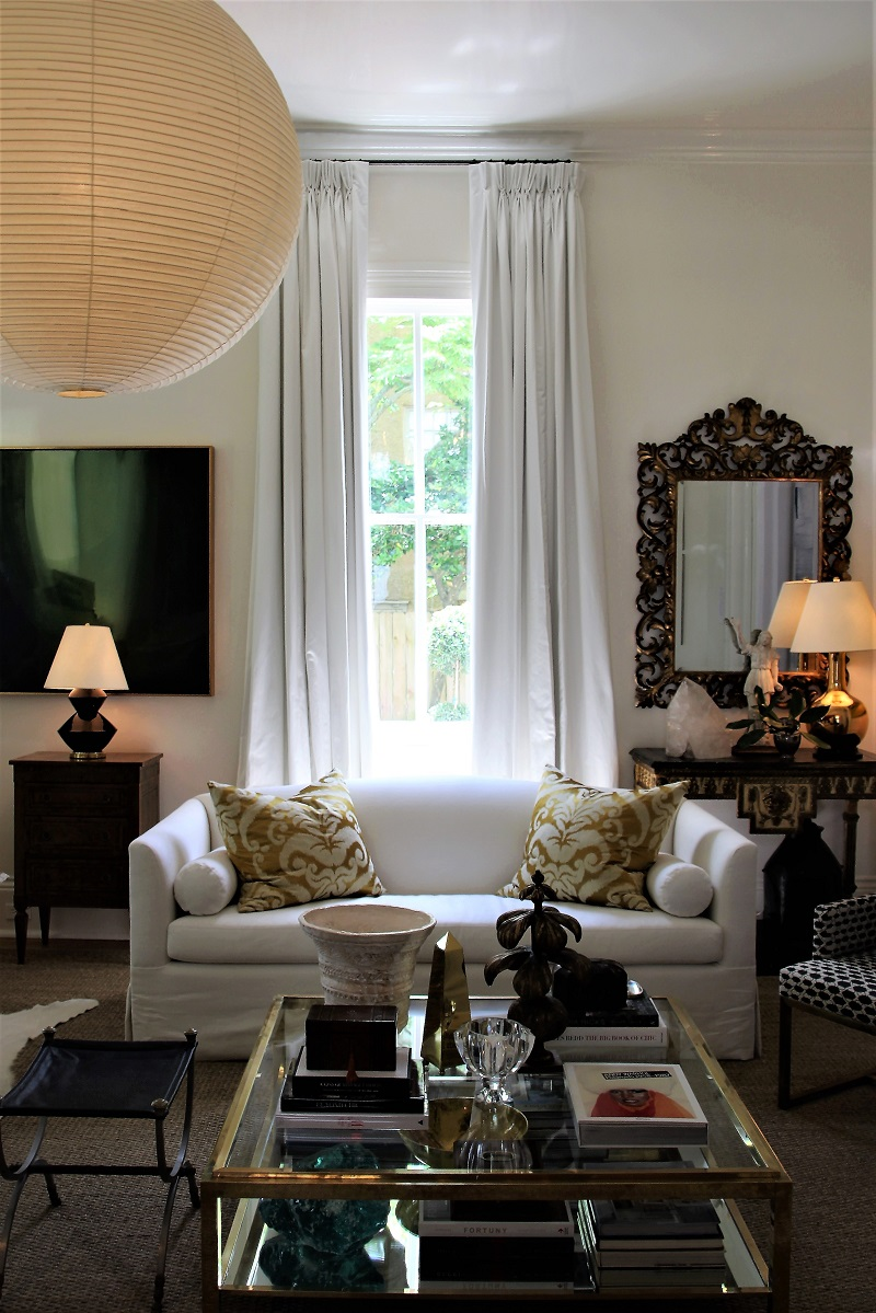 Traditional Home's Southern Style Now Showhouse in New Orleans, Formal Living Room, by Shaun Smith, with Noguchi lantern chandelier and Edward Ferrell + Lewis Mittman sofa