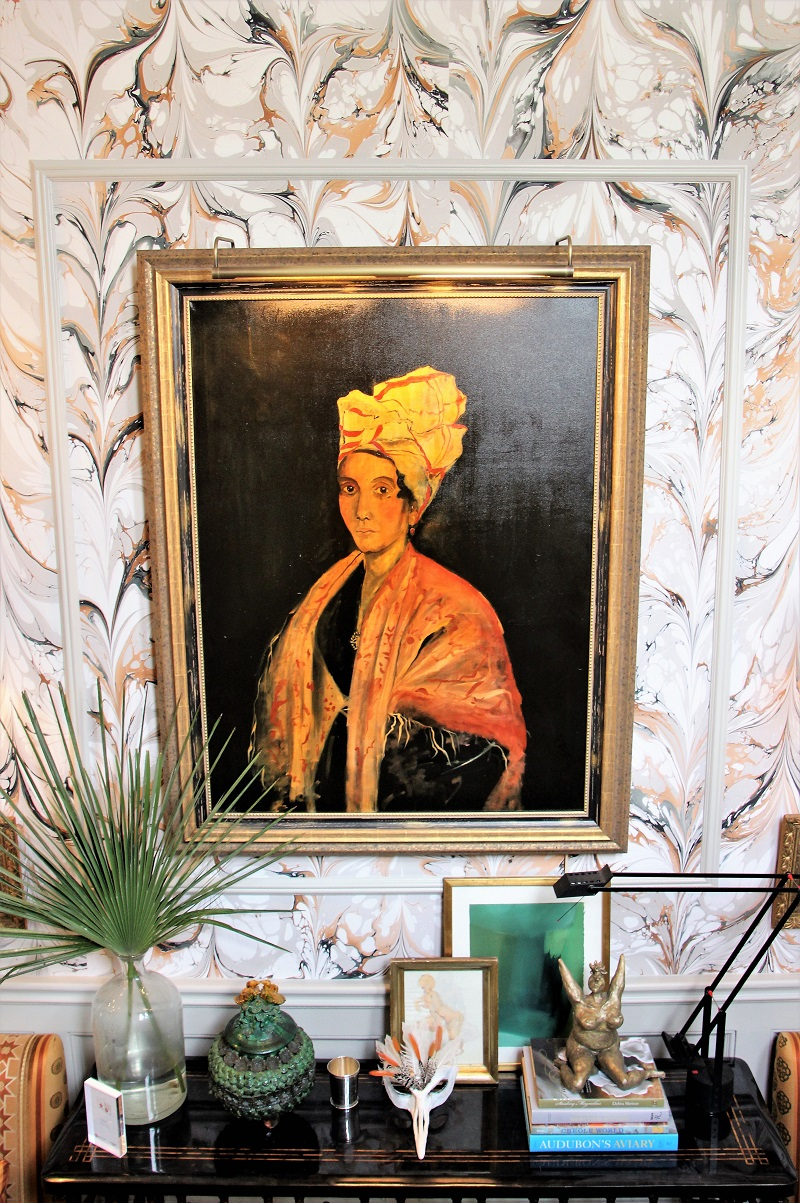 Traditional Home's Southern Style Now Showhouse in New Orleans, Foyer, Marie Laveau portrait