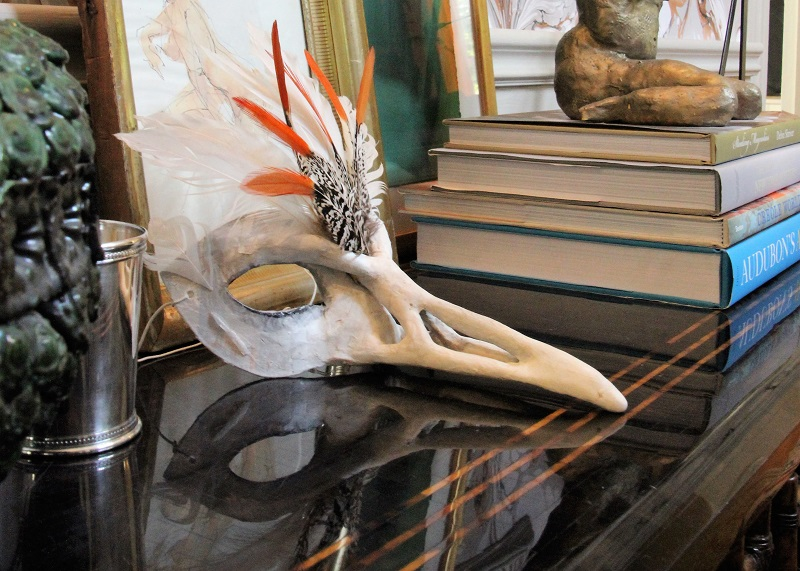 Traditional Home's Southern Style Now Showhouse in New Orleans, Foyer, Plague Doctor with Feathers Venetian Mask