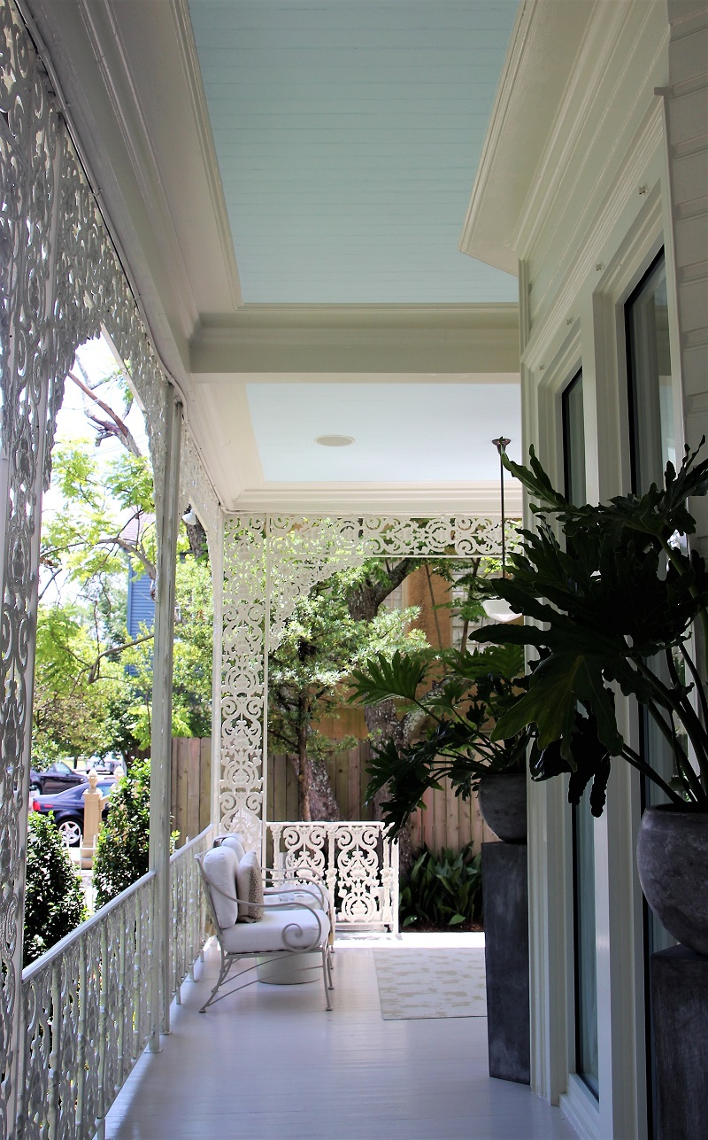 Traditional Home's Southern Style Now Showhouse in New Orleans, Front Porch with Haint Blue ceiling color