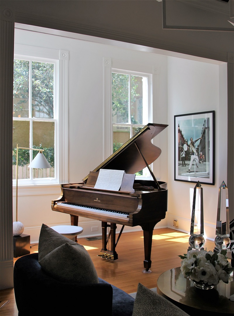 Traditional Home's Southern Style Now Showhouse in New Orleans, Parlor, by Reagan Hayes, with Steinway Piano
