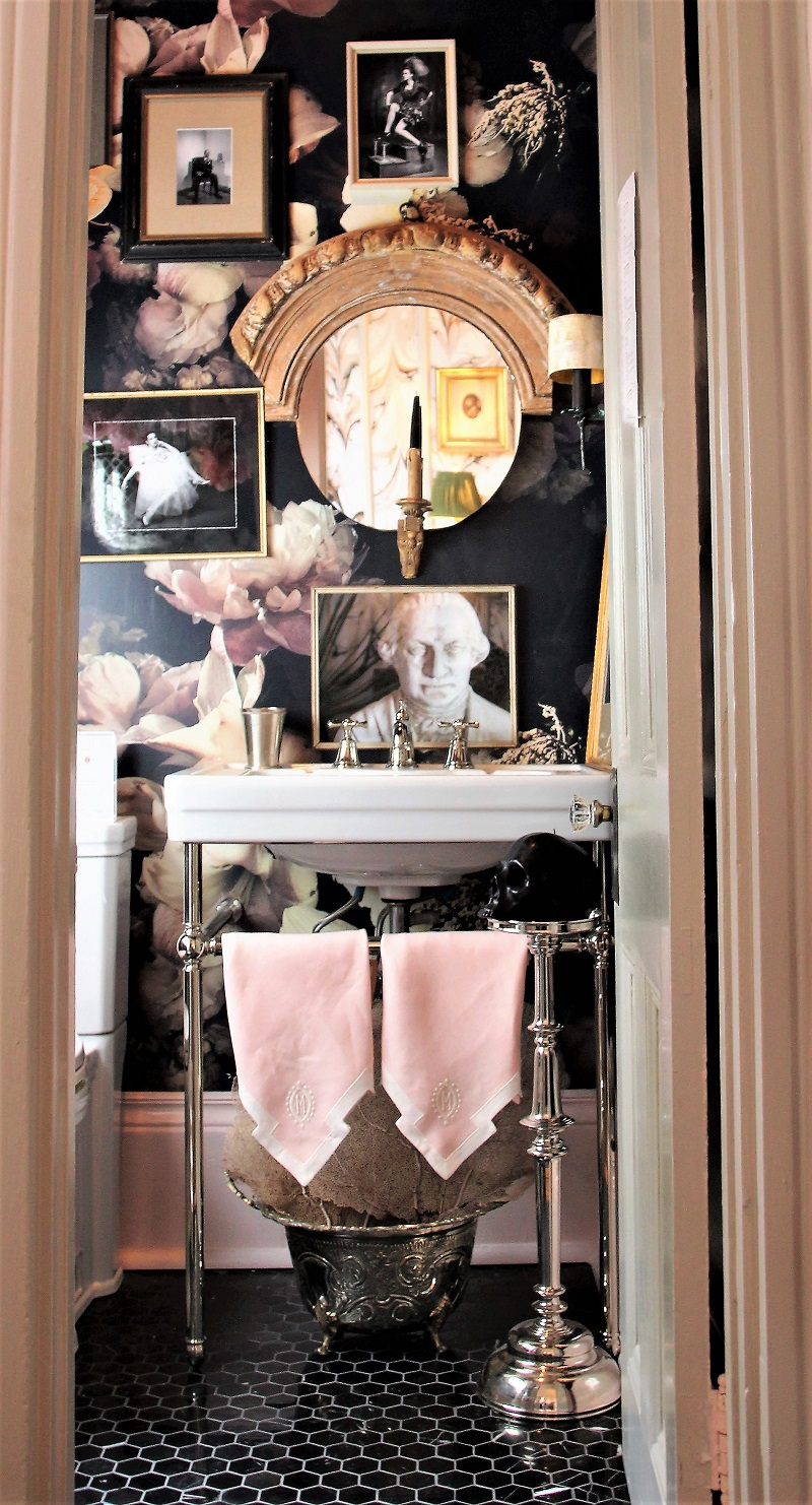 Traditional Home's Southern Style Now Showhouse in New Orleans, Powder Room by Denise McGaha, DXV by American Standard, Wallpaper by Ashley Woodson Bailey, Leontine Linens, Crossville Tile
