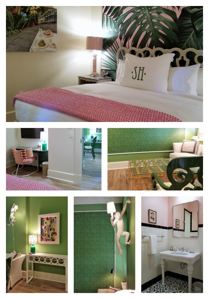 Garden House at Southern Hotel, Palm Suite, eclectic classic glamour, Dorothy Draper inspired