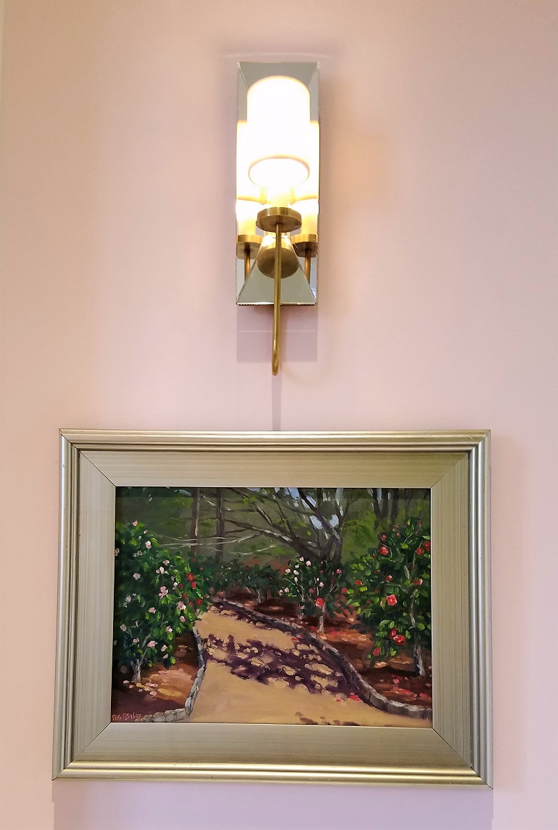Garden House of Southern Hotel, hallway, original en plein air painting by Peg Usner, eclectic interiors