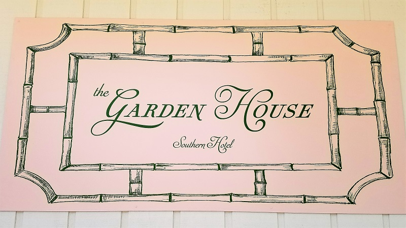 The Garden House - Southern Hotel sign; eclectic classic glamour interiors